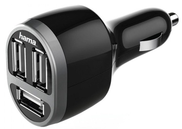 Hama 3 USB 5.2A Car Charger Black