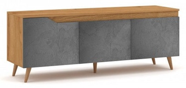 ТВ стол Vivaldi Meble Tue Gold Craft, серый/дубовый, 1400x400x520 мм