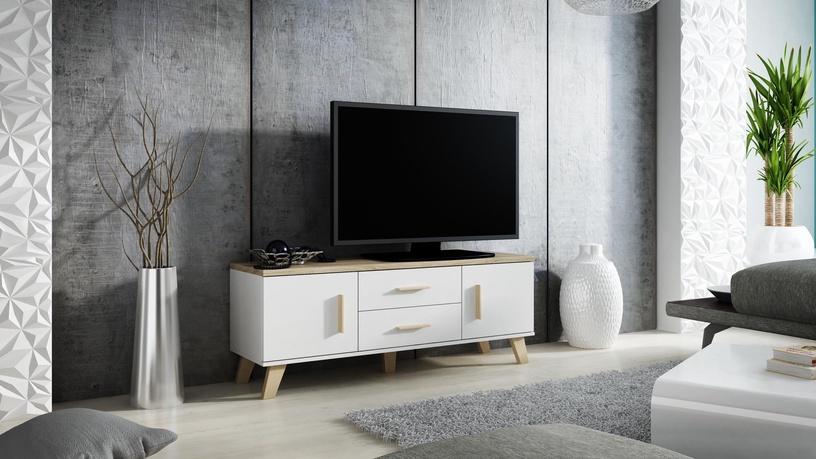ТВ стол Cama Meble Lotta 180, белый/дубовый, 1800x400x530 мм