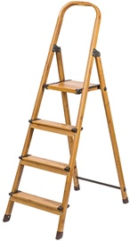 Tatkraft Aluminum 4-Step Ladder Wood Style