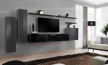 Dzīvojamās istabas mēbeļu komplekts ASM Switch I, melna/pelēka