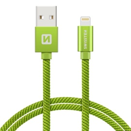 Swissten Textile USB To Apple Lighting Fast Charge Cable 2m Green