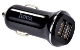 Hoco Premium Z1 Dual USB Fast Car Charger + Apple Lightning Cable Black