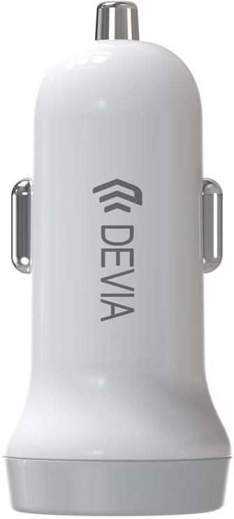 Devia Smart Dual USB Car Charger With USB Type-C Cable White