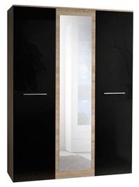 Skapis ASM Big Sonoma Oak/Black, 135x55x190 cm, with mirror