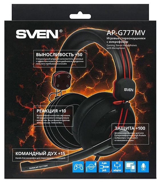 Austiņas Sven AP-G777MV Black/Red