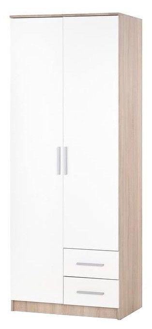 Skapis Halmar Lima S-2, balta/ozola, 80x52x205 cm