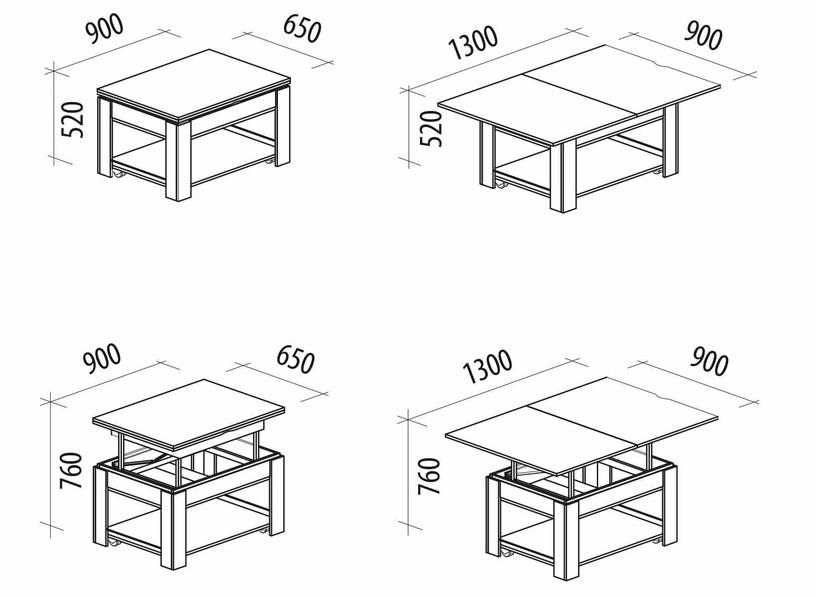 Kafijas galdiņš DaVita Agat 24.10 Shimo Ash, 900 - 1300x650x520 - 760 mm