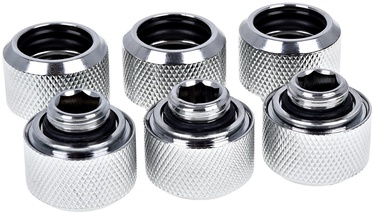 Alphacool Eiszapfen HardTube Compression Fitting 16mm To G1/4 Chrome Pack Of 6