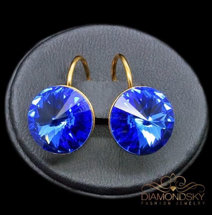 Diamond Sky Earrings With Crystals From Swarowski Klaris II Sapphire