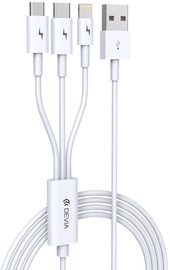 Devia Smart 3in1 USB To Apple Lightning/USB Type-C/Micro USB White
