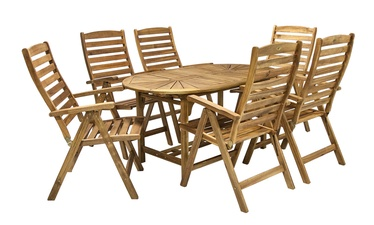 Home4you Finlay Extendable Table And 6 Chairs Set Acacia