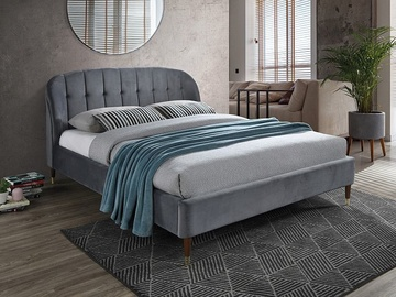Signal Meble Liguria Velvet Bed 160x200cm Grey