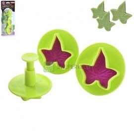 Формочка для печенья Maple leaves, зеленый/розовый, 3 шт.
