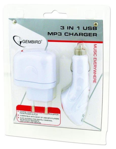 Gembird Charger Adapter USB MP3 3in1 White