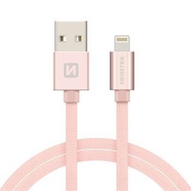 Swissten Textile USB To Apple Lightning Fast Charge Cable 1.2m Rose Gold