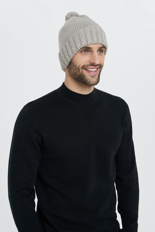Audimas Knitted Cap With Cashmere Gray