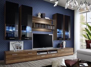Dzīvojamās istabas mēbeļu komplekts ASM Dorade Plum/Black