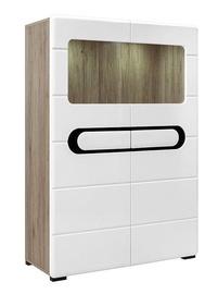 Шкаф-витрина Black Red White Byron REG2W, белый/дубовый, 99.5x42x142 см