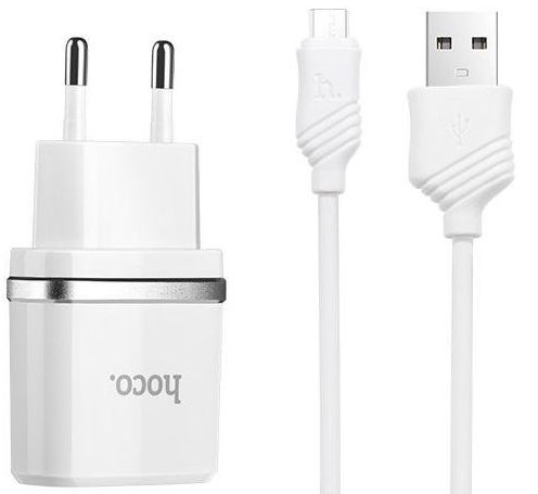 Hoco C12 Universal Dual USB 2.4A Travel Charger + Micro USB Cable White