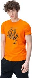 Audimas Mens Casual Shirt Orange Printed L