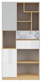 Black Red White Nandu Shelf 79.5x164x39cm Gray/Oak/White/Arabesque