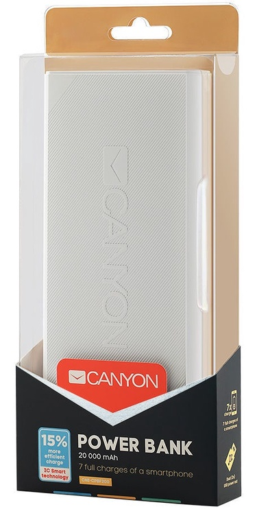 Ārējs akumulators Canyon CNE-CPBF200 White, 20000 mAh