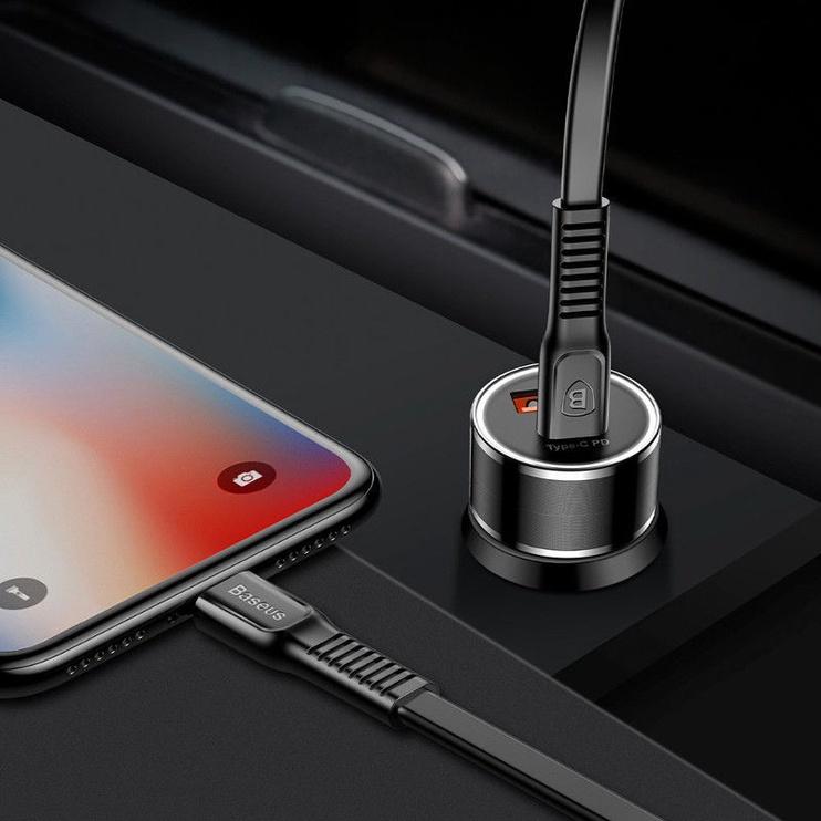 Baseus Small Screw Smart Dual QC/USB-C Car Charger Black