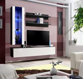 Dzīvojamās istabas mēbeļu komplekts ASM Fly H Vertical Glass Black/White Gloss