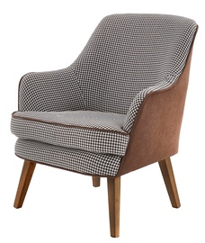 Atzveltnes krēsls Halmar Telavivi Black White Brown, 75x80x87 cm