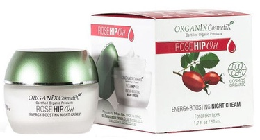 Sejas krēms Organix Cosmetix Rose Hip Oil Energy Boosting Night Cream, 50 ml