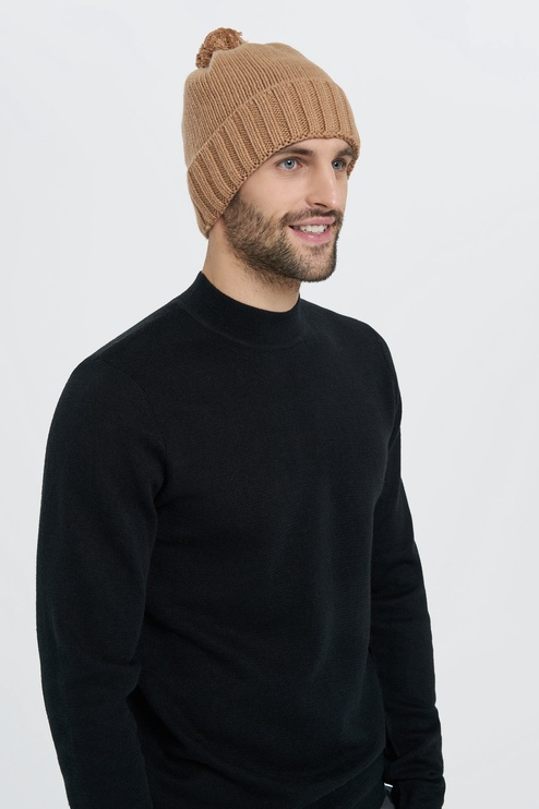 Audimas Knitted Cap With Cashmere Sand