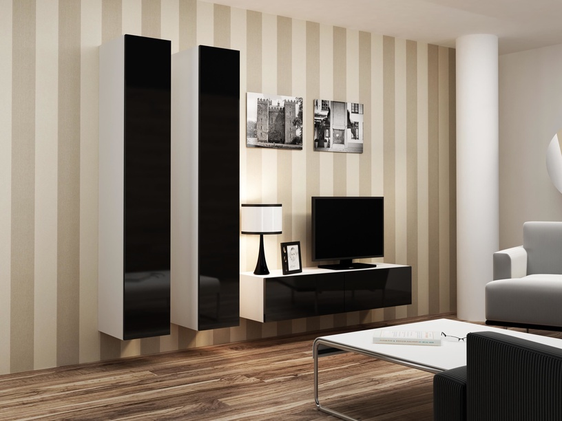 Cama Meble Vigo 180 Full Cabinet White/Black Gloss