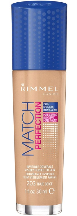 Tonizējošais krēms Rimmel London Match Perfection Foundation SPF20 203 True Beige, 30 ml
