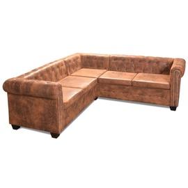 Stūra dīvāns VLX Chesterfield 5-Seater, brūna, 205 x 205 x 73 cm