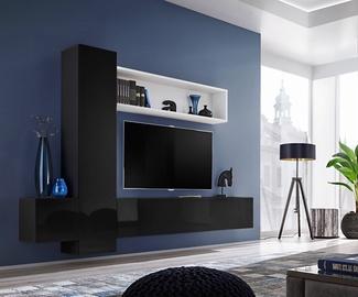ASM Blox IX Living Room Wall Unit Set Black/White