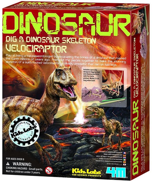 Intelektuāla rotaļlieta 4M Dig A Dino Skeleton Velociraptor 13234