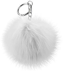 Beeyo Soft Fluffy Ring The Pompom & Smartphone Finger Holder White/Silver