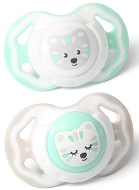 BabyOno Symmetrical Silicone Soother 2pcs Mint/Gray 6-18m