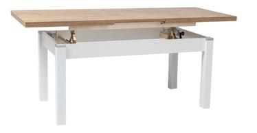Обеденный стол Signal Meble Kleopatra Lancelot Oak/White, 1240 - 1640x640x560 - 750 мм