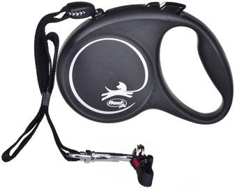 Поводок Flexi Black Design, белый/черный, 5 м