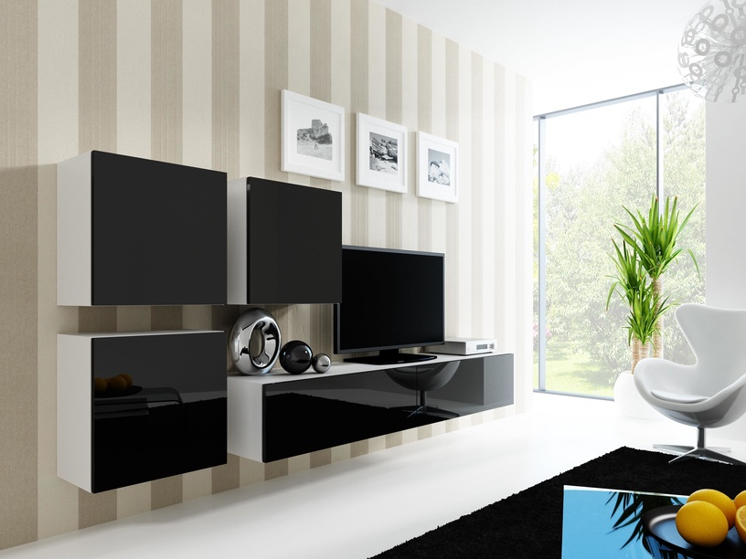 Cama Meble Vigo Square Cabinet White/Black Gloss