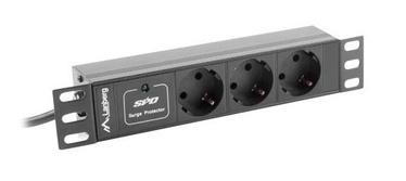 "Sprieguma stabilizatori (Surge Protector) Lanberg Surge Protector Rack PDU 10"" 1U 16A 3x Schuko 2m Black"