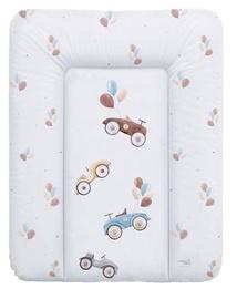 Matracis autiņu maiņai Ceba Baby Small Retro Cars Soft, 70x50 cm, balta