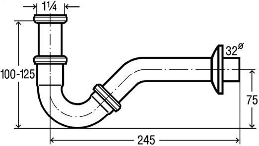 Viega Bidet Siphon without Release 11/4 32mm Chrome