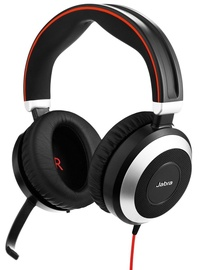 Austiņas Jabra Evolve 80 Duo MS Black/Red
