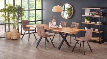 Pusdienu galds Halmar Xavier, melna/ozola, 1600 - 2500x900x760mm
