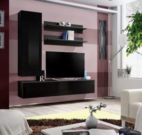 Dzīvojamās istabas mēbeļu komplekts ASM Fly H Black/Black Gloss