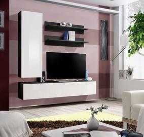 Dzīvojamās istabas mēbeļu komplekts ASM Fly H Black/White Gloss