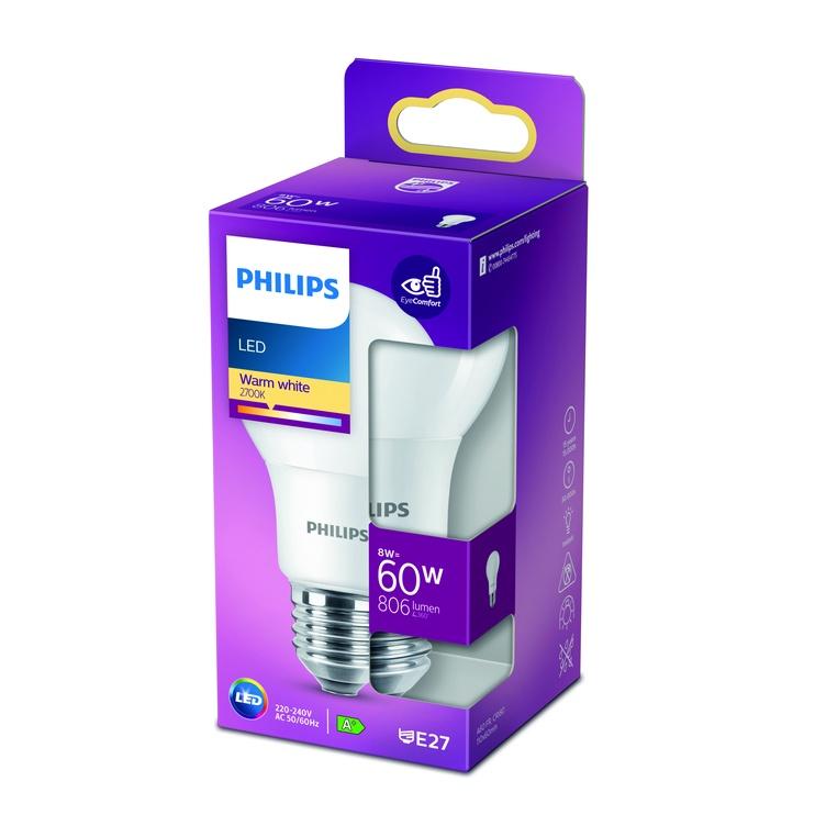 Spuldze Philips 929001234304, led, E27, 8 W, 806 lm, silti balta